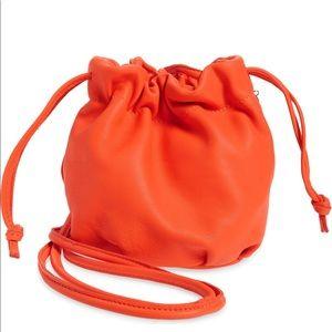 Clare V Orange Leather Drawstring Bag